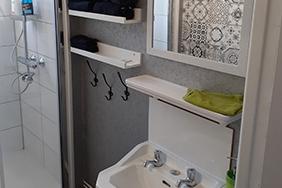 salle de bain avec douche, lave-mains et miroir